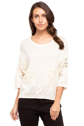 Womens Round Neck Solid Lace Sweater