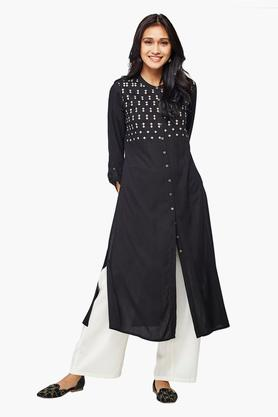 GLOBAL DESI Womens Printed Medium Length Kurta