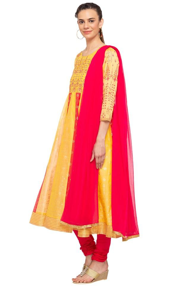 Womens Round Neck Printed Anarkali Suit