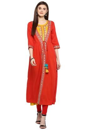 JUNIPER Womens Embroidered 2 Pc Jacket Style Kurta