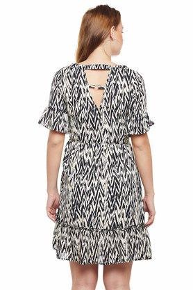 Womens Round Neck Printed Drop Waist Dress