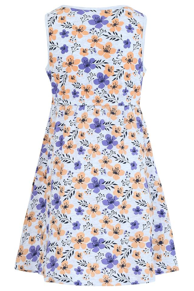 Girls Round Neck Floral Print Flared Dress