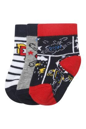 Boys Printed Slub and Striped Socks - Set of 3