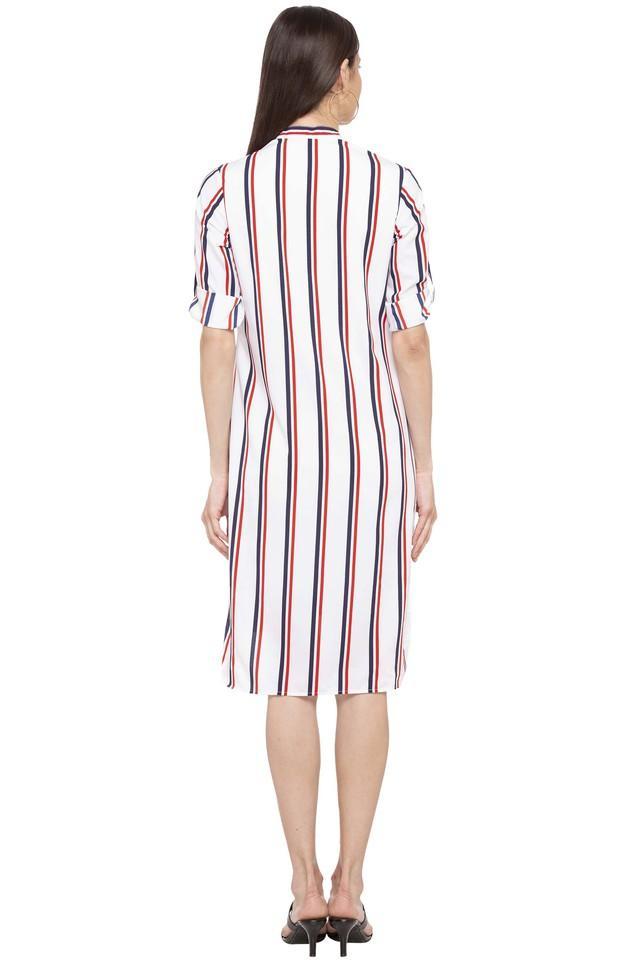 Womens Mandarin Collar Stripe Shirt Dress