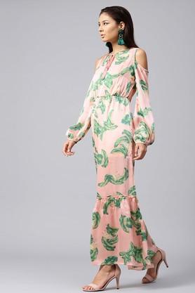 Womens Cold Shoulder Sleeves Printed Maxi Dress