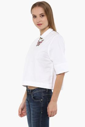 Womens Peter Pan Collar Embroidered Top