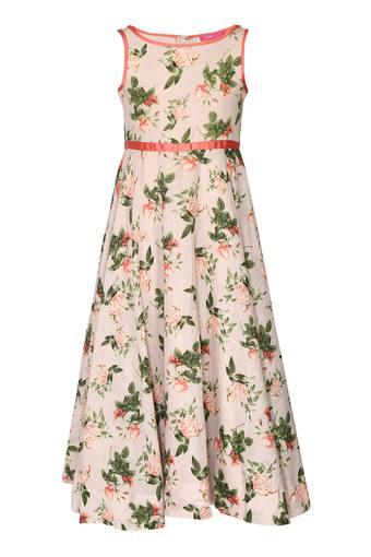 Girls Round Neck Floral Print Maxi Dress