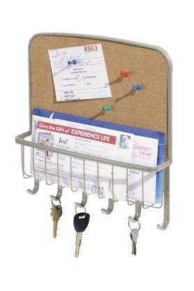 INTERDESIGNMail Basket With 6 Hooks And A Cork Board To Pin Papers