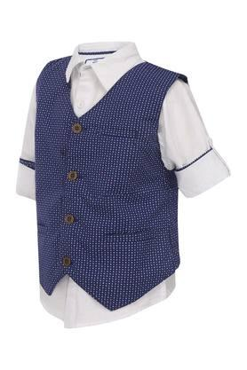 Boys Solid Shirt With Waistcoat