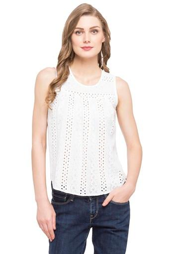 Womens Round Neck Perforated Top