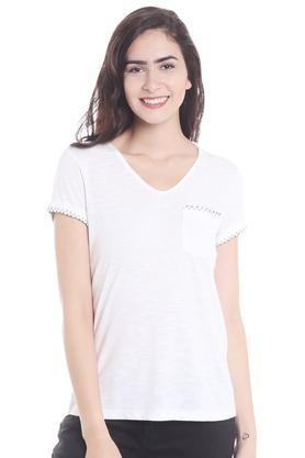 Womens V- Neck Slub T-Shirt