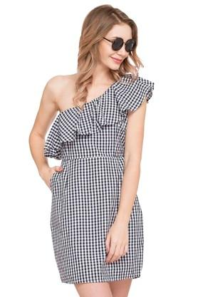 Womens One Shoulder Check Shift Dress