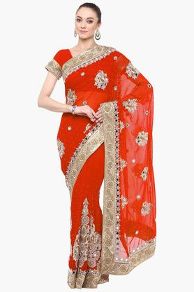 DEMARCA Womens Faux Georgette Stone Worked Saree