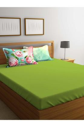 PORTICOSolid Double Bed Sheet With Pillow Cover - 203304808_9900