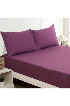 Colorart Percale Cotton Solid Double Bedsheet with 2 Pillow Covers