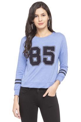 ONLYWomens Round Neck Slub Applique Sweatshirt