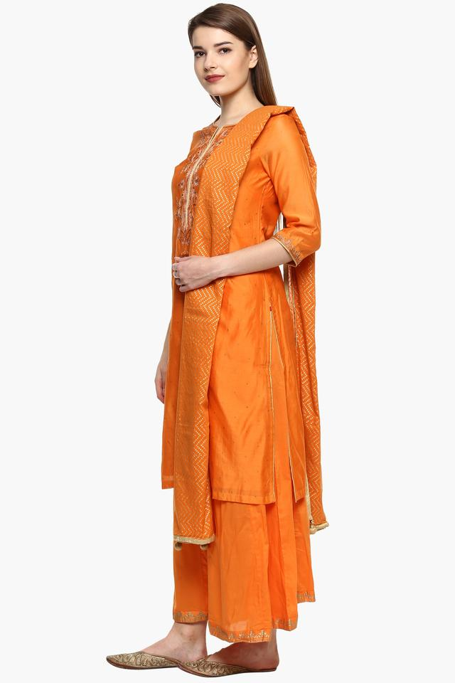 Womens Notched Neck Embellished Palazzo Suit