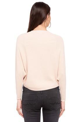 Womens Round Neck Slub Sweater