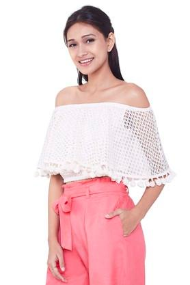 Womens Off Shoulder Lace Overlay Top