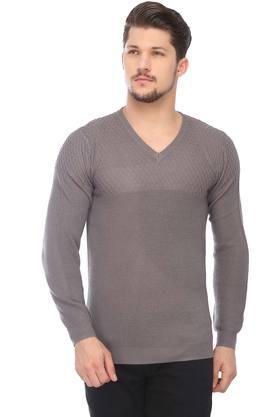 VAN HEUSENMens V-Neck Slub Sweater - 204716782_9204