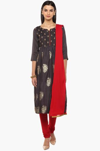 Womens Round Neck Printed Embroidered Churidar Suit