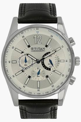 TITANMens Silver White Dial Chronograph Watch - NH9322SL02E