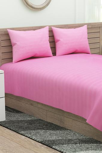 Striped Double Bed Sheet with 2 Pillow Covers
