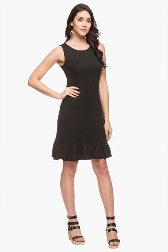 Womens Round Neck Self Pattern Knee Length Dress