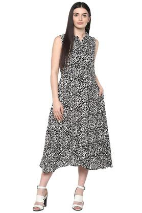 Womens Collared Printed Midi Dress