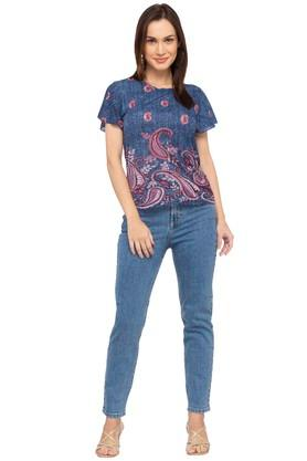 Womens 5 Pocket Rinse Wash Jeans (Mom Fit)
