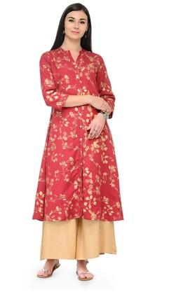 VARANGA Women Gold Print Front Open Kurta With Palazzos