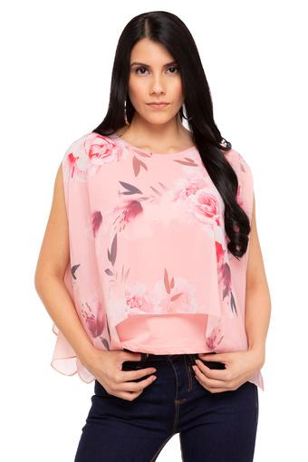 Womens Round Neck Floral Printed Asymmetrical Layered Top