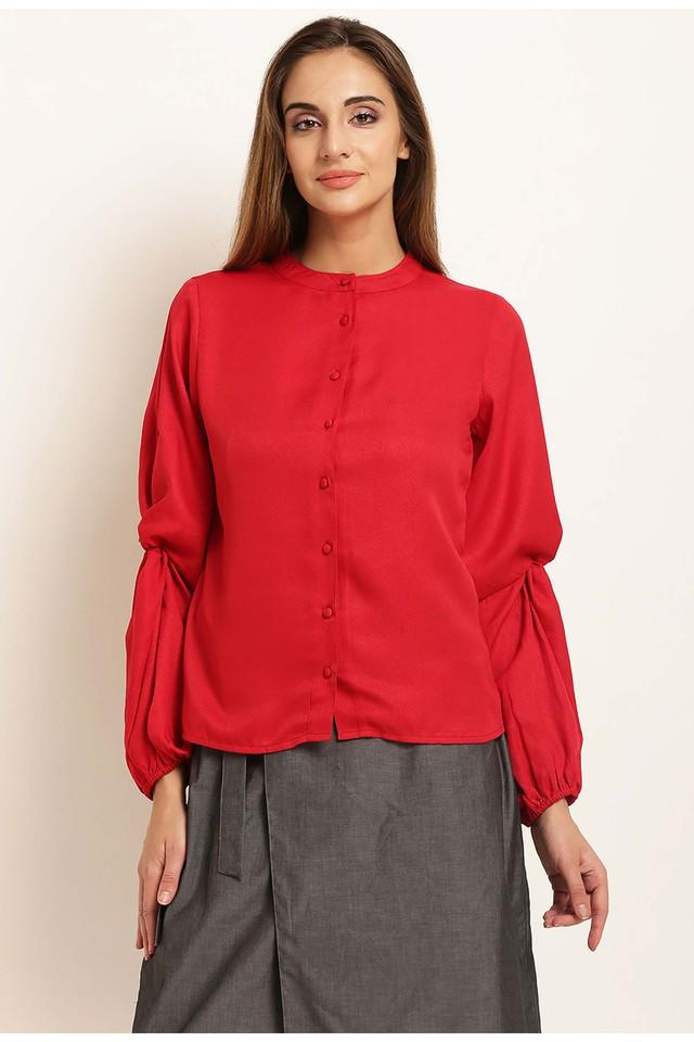 Womens Band Neck Solid Top