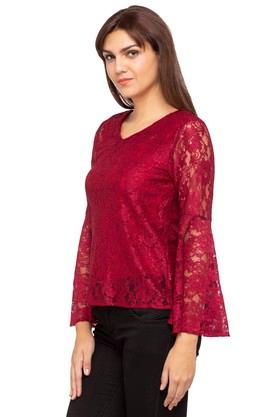 Womens V Neck Lace Top