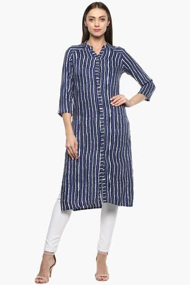 Womens Mandarin Collar Stripe Tunic
