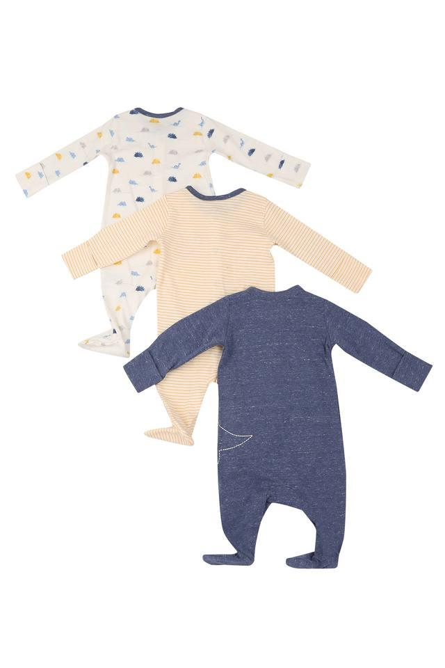 Boys Round Neck Printed and Striped Bodysuit - Pack Of 2