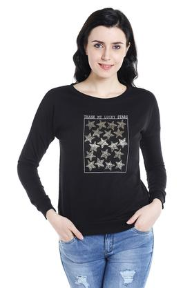 109F Womens Round Neck Printed Pullover