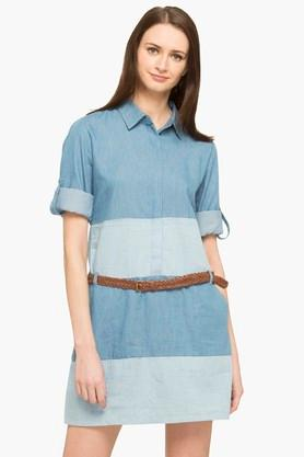 Womens Collared Colour Block Shirt Dress