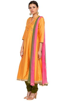Womens Mandarin Collar Solid Embroidered Churidar Suit