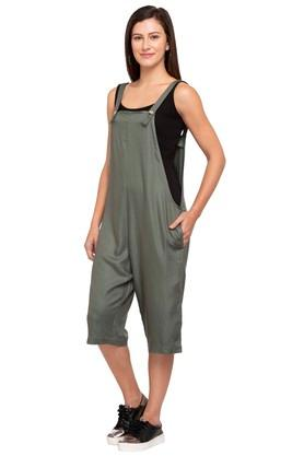 Womens Square Neck Solid Playsuit Dress