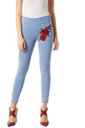 Womens Skinny Fit Embroidered Jeggings