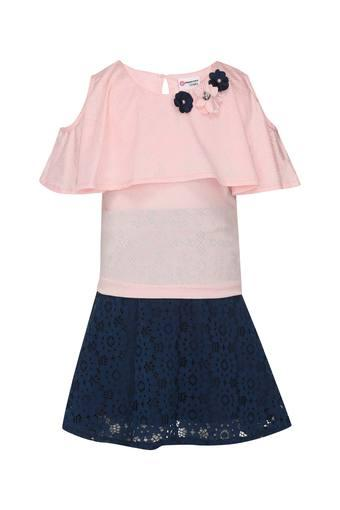 Girls Round Neck Assorted Top and Skirt