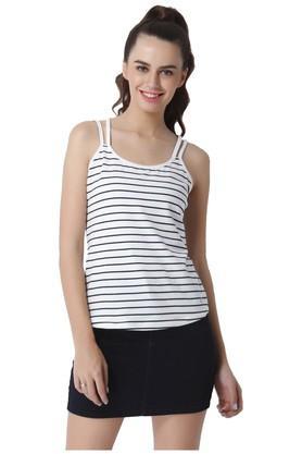 Womens Round Neck Striped Tank Top
