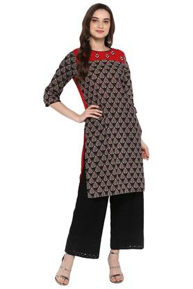 JUNIPER Womens Printed Embroidered Kurta With Hakoba Pant