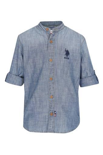 Boys Mandarin Neck Slub Shirt