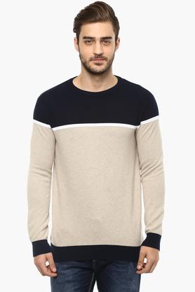 STOP Mens Round Neck Colour Block Sweater