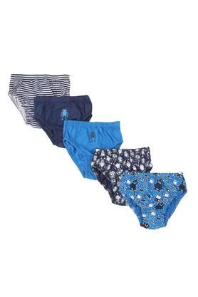 Boys Solid Striped and Printed Briefs - Pack of 5