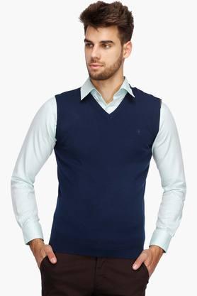 VAN HEUSENMens V Neck Slub Sweater