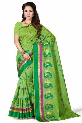 ISHIN Womens Woven Cotton Blend Saree