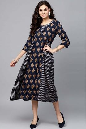 Womens Round Neck Ethnic Motifs A-Line Dress